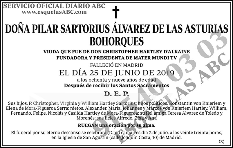 Pilar Sartorius Álvarez de las Asturias Bohorques