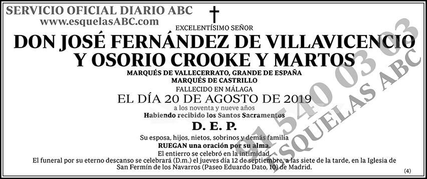 José Fernández de Villavicencio y Osorio Crooke y Martos