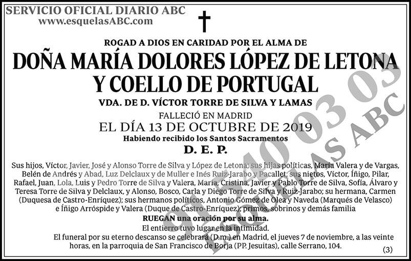 María Dolores López de Letona y Coello de Portugal