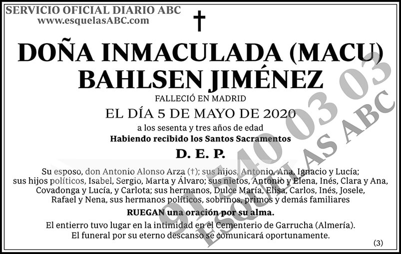 Inmaculada (Macu) Bahlsen Jiménez