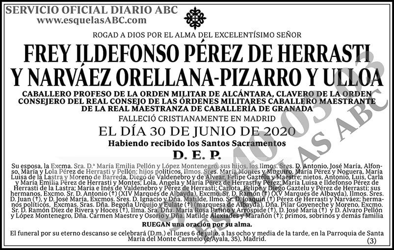 Frey Ildefonso Pérez de Herrasti y Naváez Orellana-Pizarro y Ulloa
