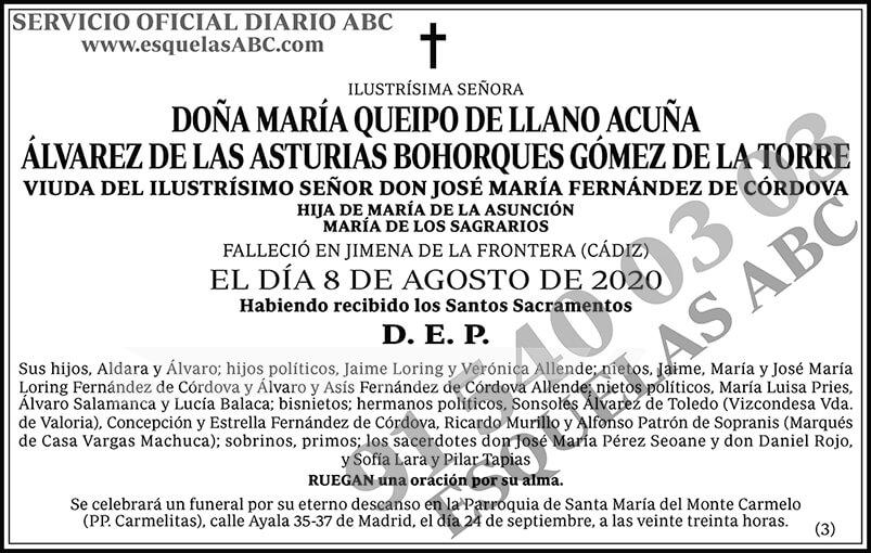 María Queipo de Llano Acuña Álvarez de las Asturias Bohorques Gómez de la Torre