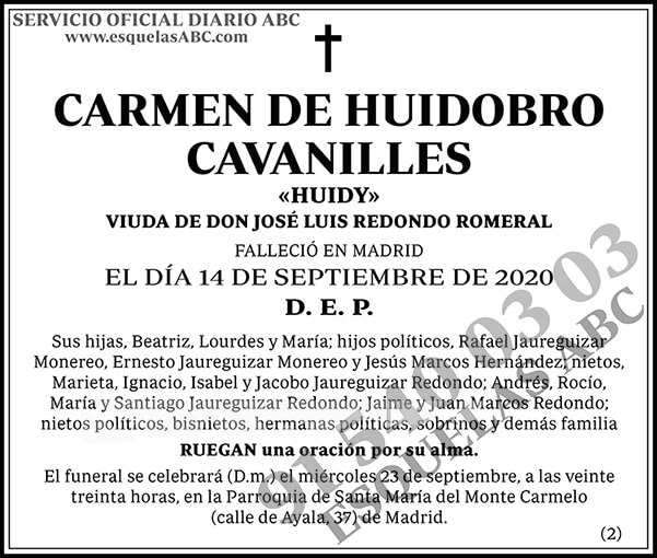 Carmen de Huidobro Cavanilles