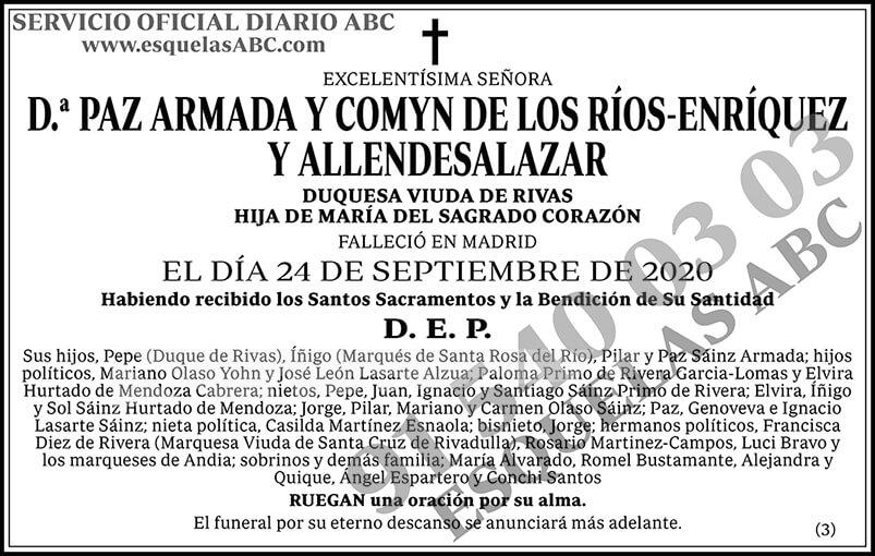 Paz Armada y Comyn de los Ríos-Enríquez y Allendesalazar