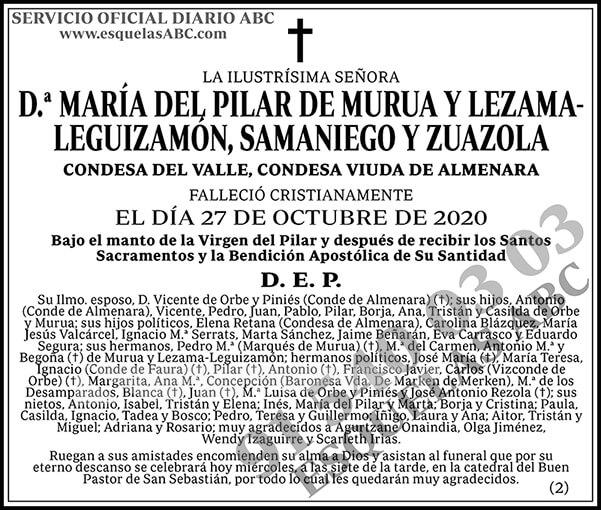 María del Pilar de Murua y Lezama-Leguizamón, Samaniego y Zuanzola