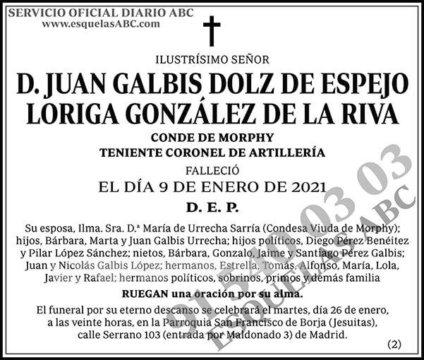 Juan Galbis Dolz de Espejo Loriga González de la Riva