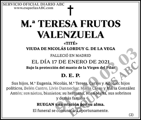 M.ª Teresa Frutos Valenzuela