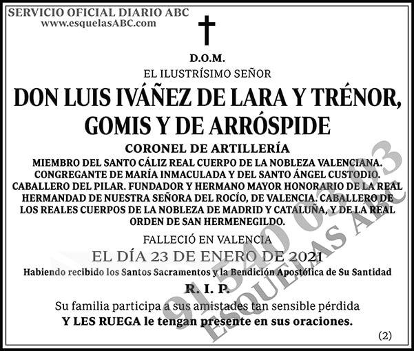 Luis Iváñez de Lara y Trénor, Gomis y de Arróspide
