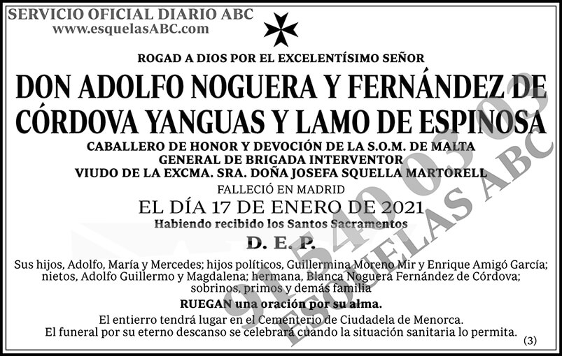Adolfo Noguera y Fernández de Córdova Yanguas y Lamo de Espinosa