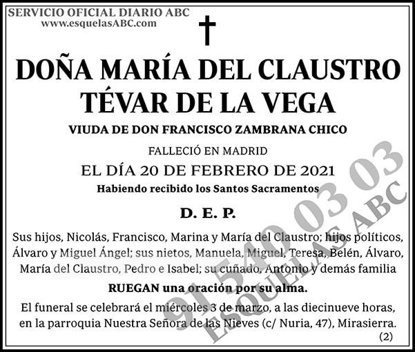 María del Claustro Tévar de la Vega