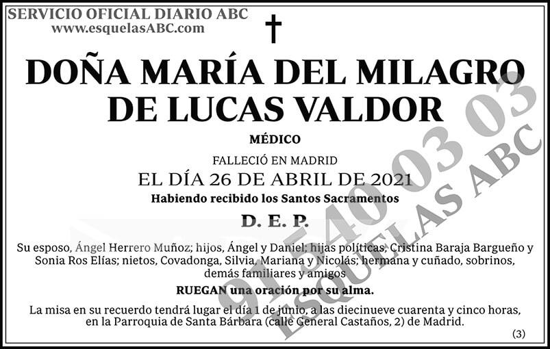 María del Milagro de Lucas Valdor