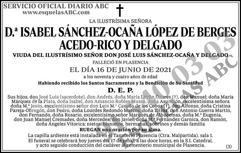 Isabel Sánchez-Ocaña López de Berges Acedo-Rico y Delgado