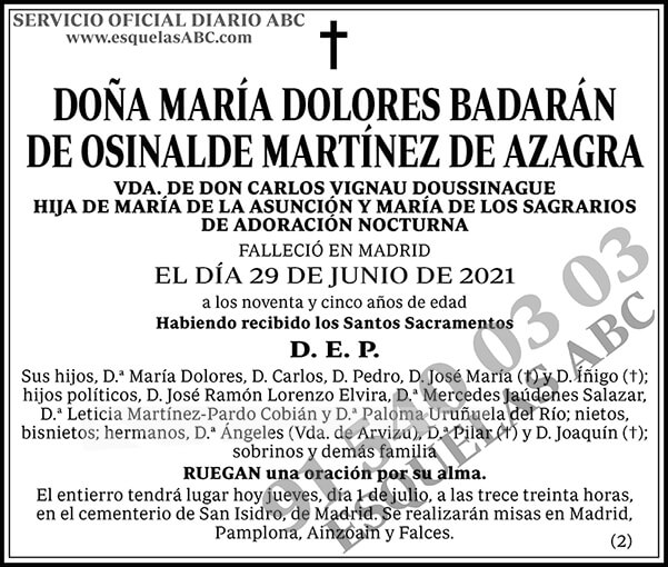 María Dolores Badarán de Osinalde Martínez de Azagra